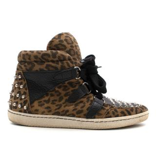 Sandro Leopard Print High-Top Sneakers