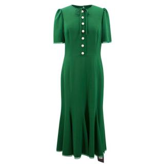 Dolce & Gabbana Green Crepe Long Dress