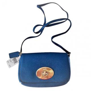 Coach Blue Leather Bag with Pale Gold Clasp