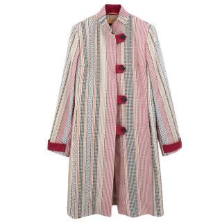 Etro multicolored stripped cotton coat