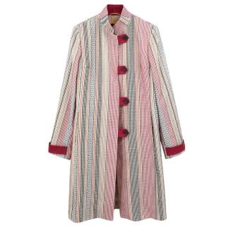 Etro multicolored stripped cotton coat