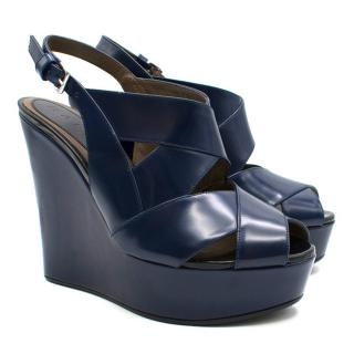 Marni Zeppa Night Blue Wedges