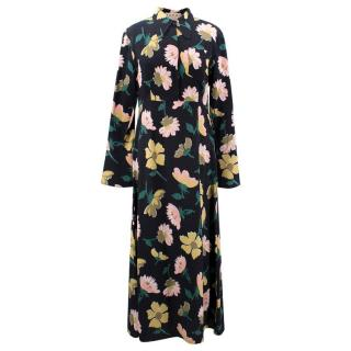 Marni Floral Printed Collar Maxi Dress