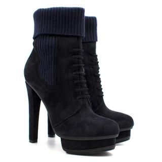 Le Silla Navy Dark Suede Ankle Boots
