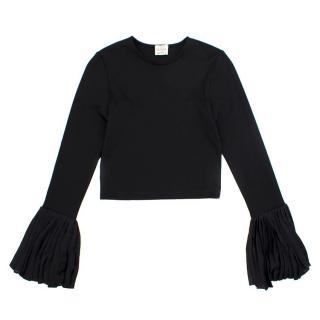 Torn by Ronny Kobo Black Top with Flared Sleeves