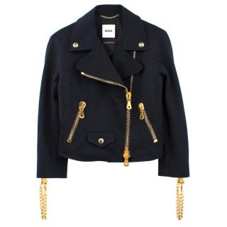 Moschino Black Cotton Jacket with Gold Chains