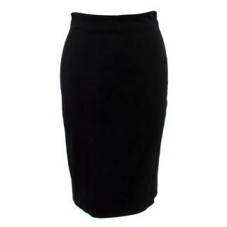 The Row Black Lambskin Pencil Skirt