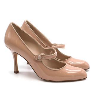 Manolo Blahnik Nude Patent Heels