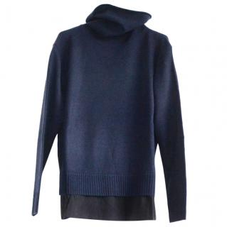 Joseph Navy Wool Cashmere & Crepe de Chine High Neck Jumper