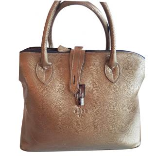 gold leather tote bag