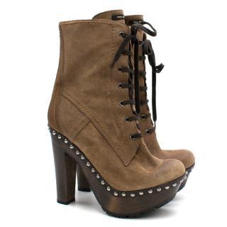 396575b6a39 Miu Miu Lace-Up Platform Suede Ankle Boots