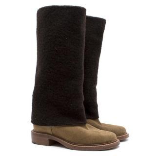 Chanel Wool and Suede Contrasted Boots