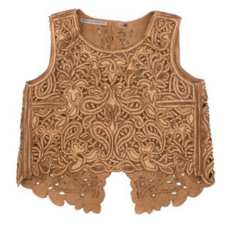 Ermanno Scervino Suede Laser Cut Embroidered Backless Top