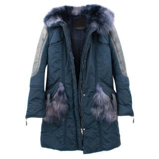 Ermnno Scervino Parka Coat with Fox Hoodie