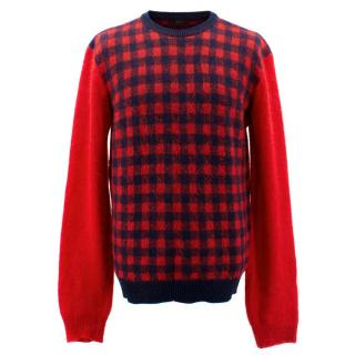 Joseph Red and Navy Checked Wool Jumper