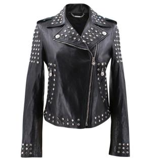 Versace Leather Biker Jacket with Crystals