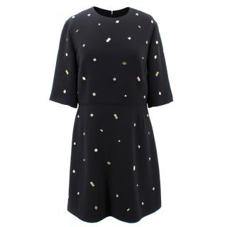 McQ Short Sleeve Midi Dress with Bronze and Silver Studs