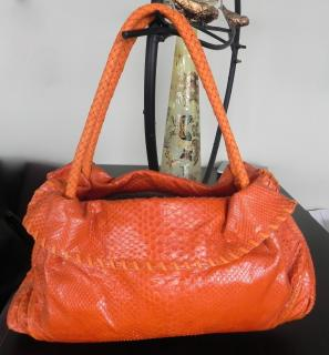 Orange Crocodile skin shoulder bag