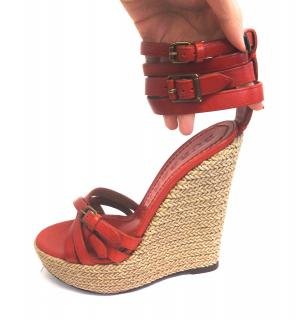 Burberry burnt ornage wedges