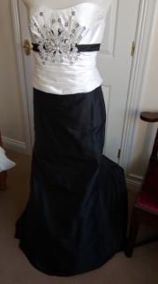 Linea raffaelli black/ivory silk evening/bride/bridesmaid gown