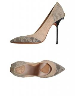 GUILLAUME HINFRAY CREAM LACE/BLACK LEATHER SHOES