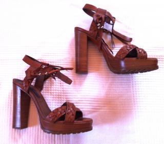 Ralph Lauren Tan Heeled Sandals
