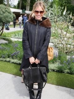 Vera Wang Lavender Label Paper Techno Taffeta Fur Collar Coat