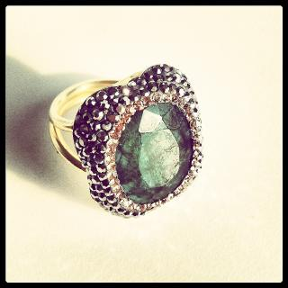 Emerald and plated Gold Ring  new