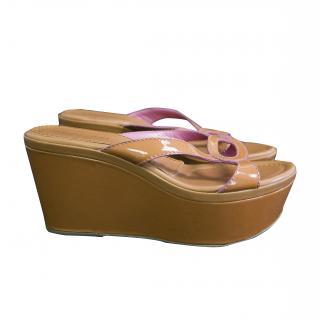 Sergio Rossi patent leather wedge sandals