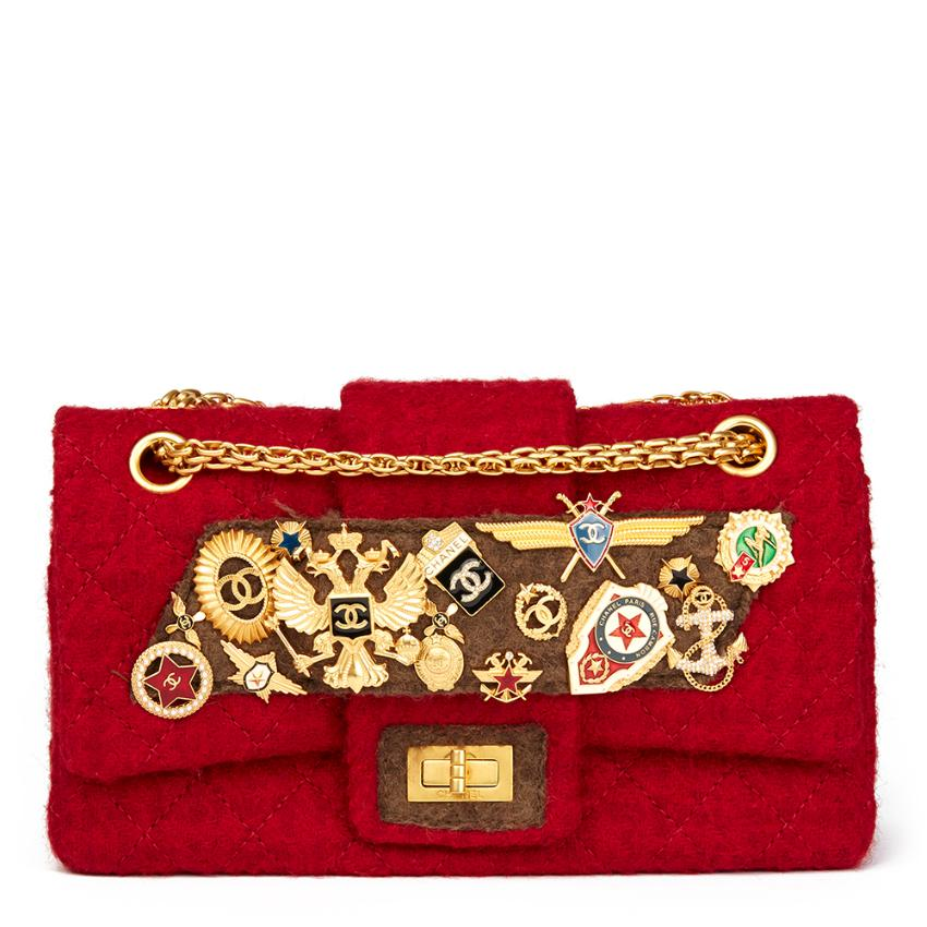 8cf1a9f1eb67 Chanel Red Quilted Wool Romanov Charms 255 Reissue Double Flap Bag | HEWI  London