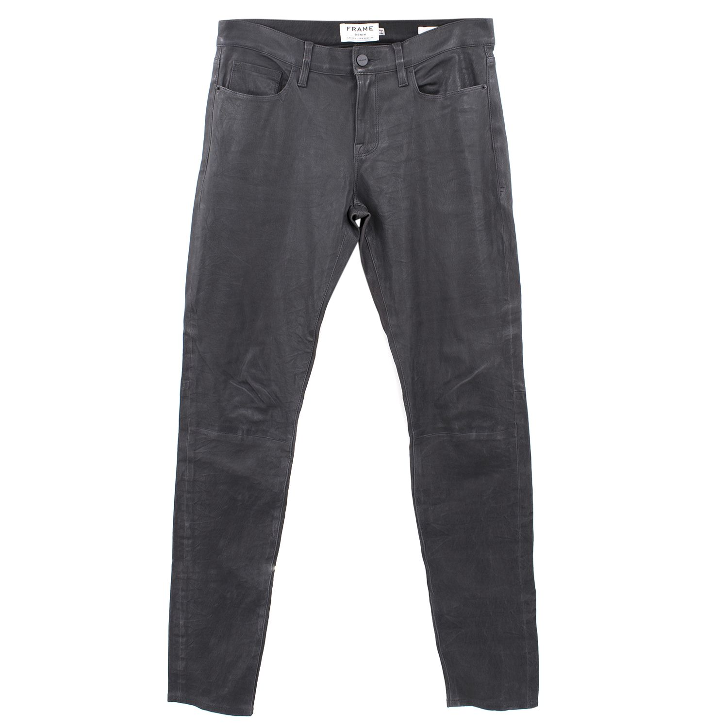 Frame Lambs Leather Dark Grey Trousers