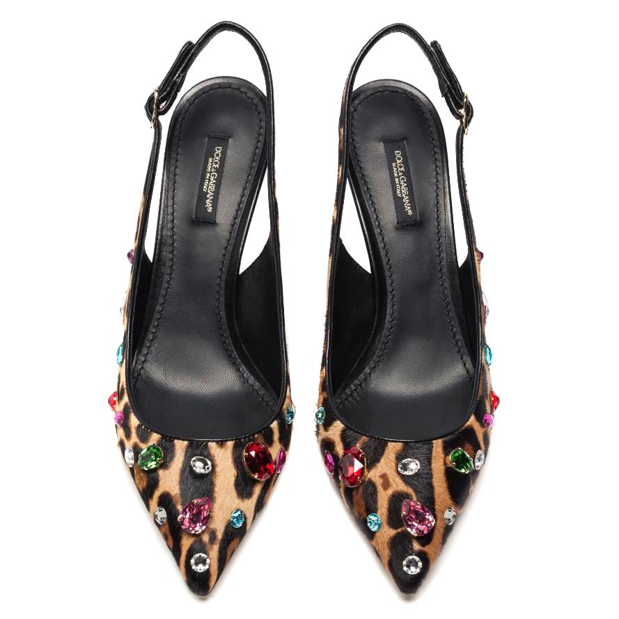 Dolce & Gabbana Leopard Print Sling Back Pumps, UK 7.5