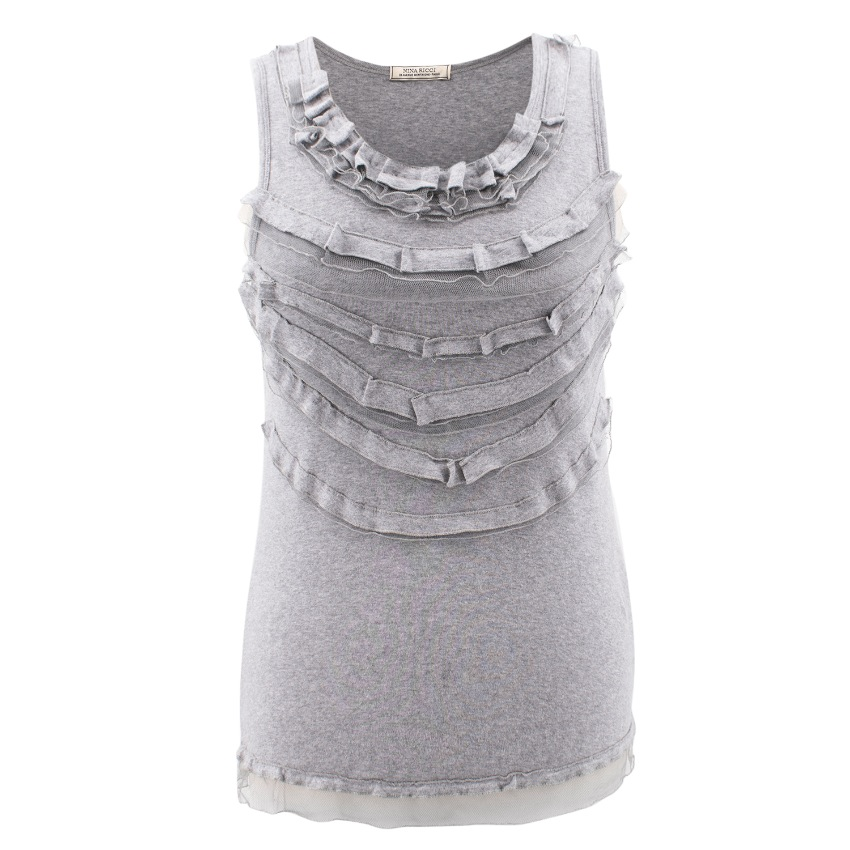 Nina Ricci Cotton Sleeveless top with ruffles