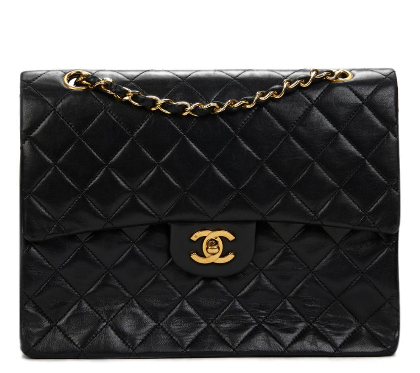 37a1d39a37e6 Chanel Black Quilted Lambskin Medium Tall Classic Double Flap Bag ...