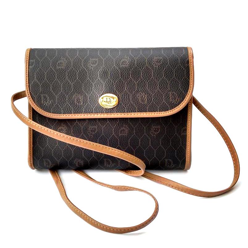 Christian Dior Vintage Brown Monogrammed Shoulder Crossbody Bag   HEWI  London 5c2c5bf3f0