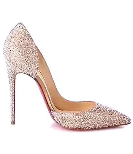 Christian Louboutin Iriza Strass 120 Suede Metal Pumps