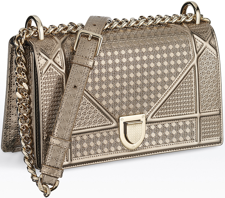 e62f17140fd4 Dior Diorama Metallic Champagne Cannage Flap Bag With Receipt