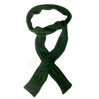 Valentino 100% Cashmere Cable Knit Long Dark Green Cable Scarf