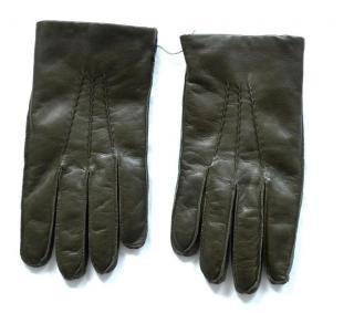 Ralph Lauren Purple Label cashmere lined olive leather gloves
