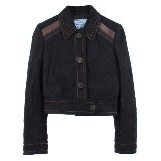 Prada Texture cotton and leather cropped jacket