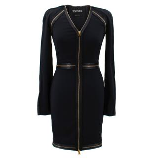Tom Ford Mid Length Dress With Gold Zippers