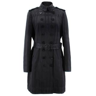 Burberry Silk Blend Checked Black Trench Coat