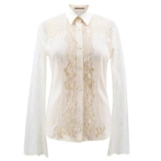 Ermanino Scervino Cream Lace Shirt