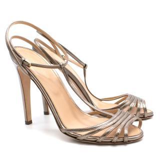 Sergio Rossi Gold Strappy Sandals