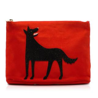 Charlotte Olympia Red Satin Wolf Pouch