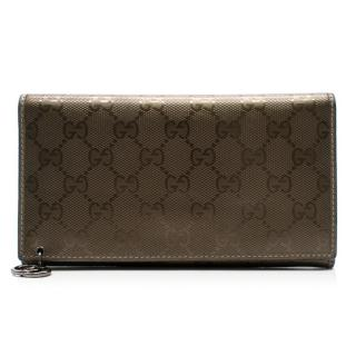 Gucci Signature Shiny Pattern Fabric Wallet