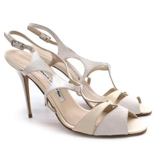 Manolo Blahnik White Leather and Python Sandals