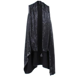 Donna Karan Sequined Draped Gilet