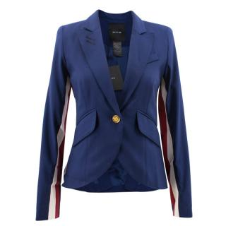 Smythe One Button V Neck Blazer with Stripes