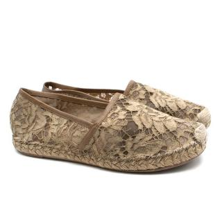 Valentino Beige Lace Leather Trimmed Espadrilles